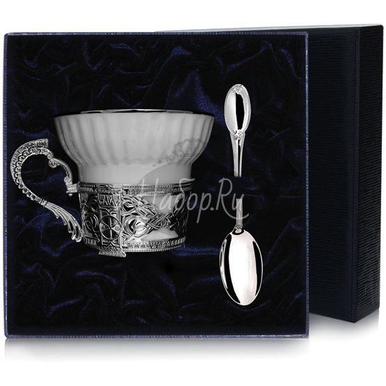 Набор чайная чашка под логотип: ложка, чашка 729НБ03801