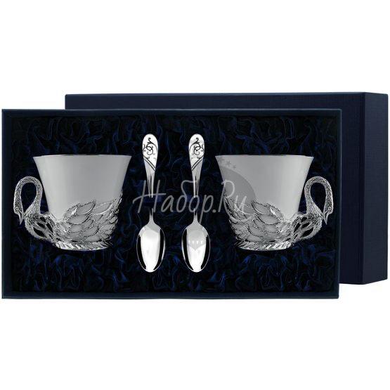 """Набор чайных чашек """"Лебедь"""": ложка, чашка 758НБ03801"""