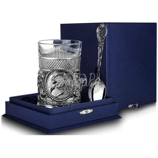 """Набор для чая """"Скорпион"""": ложка, стакан, подстаканник с чернением 842НБ03806"""
