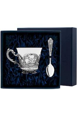 """Набор чайная чашка """"Королевская охота"""": ложка, чашка"""