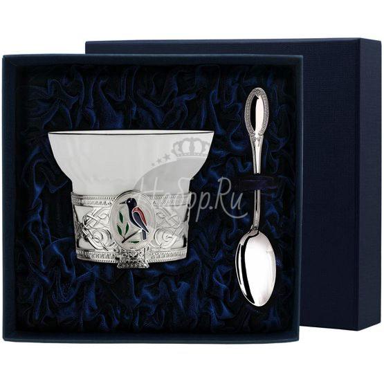 """Набор чайная чашка """"Сизоворонка"""": ложка, чашка 936НБ03807"""