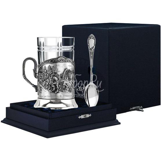 """Набор для чая """"Тройка"""": ложка, стакан, подстаканник с чернением 963НБ03806"""