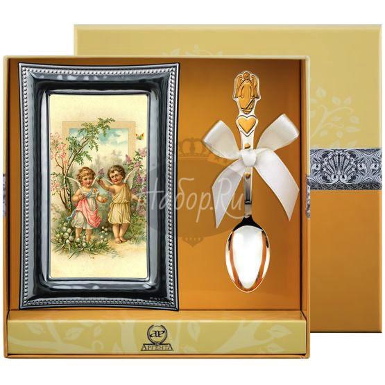 """Набор детский """"Ангел"""": ложка и рамка для фото РИ119НБ05802"""