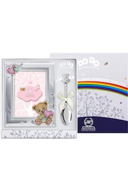 """Набор детский DODO """"Медведь"""" розовый (рамка цветная + ложка)"""