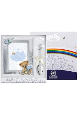 """Набор детский DODO """"Медведь"""" голубой (рамка цветная + ложка)"""