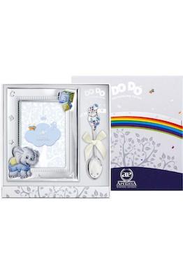 """Набор детский DODO """"Слоненок"""" голубой (рамка цветная + ложка)"""