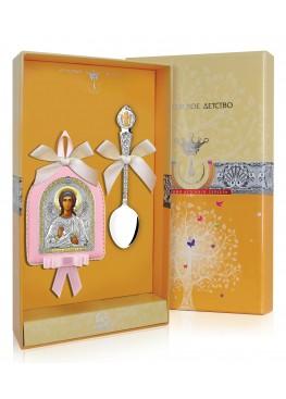 """Набор детский """"Ангел-Хранитель"""": икона и ложка"""