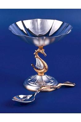 Икорница из серебра №3 с ложкой