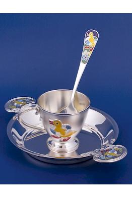 """Набор серебряной посуды для малыша """"Утенок"""""""