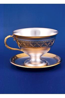Серебряная чашка с блюдцем №1