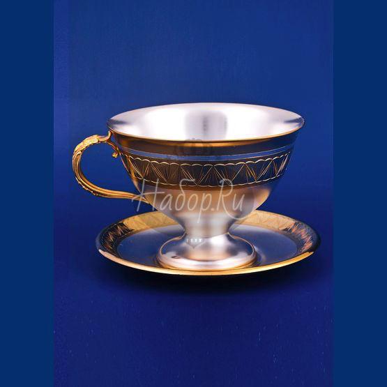 Серебряная чашка с блюдцем №1 (арт. С33687700125)