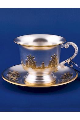 Серебряная чашка с блюдцем №11