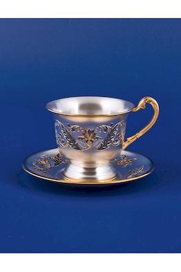 Серебряная чашка с блюдцем №16