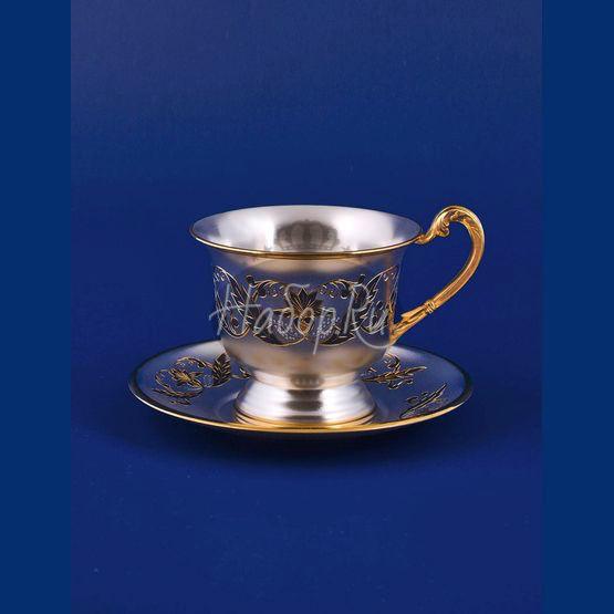 Серебряная чашка с блюдцем №16 (арт. С33687601625)