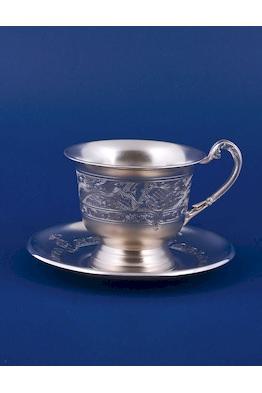 Серебряная чашка с блюдцем №17