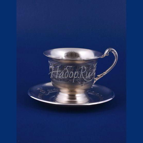 Серебряная чашка с блюдцем №17 (арт. С33687601725)