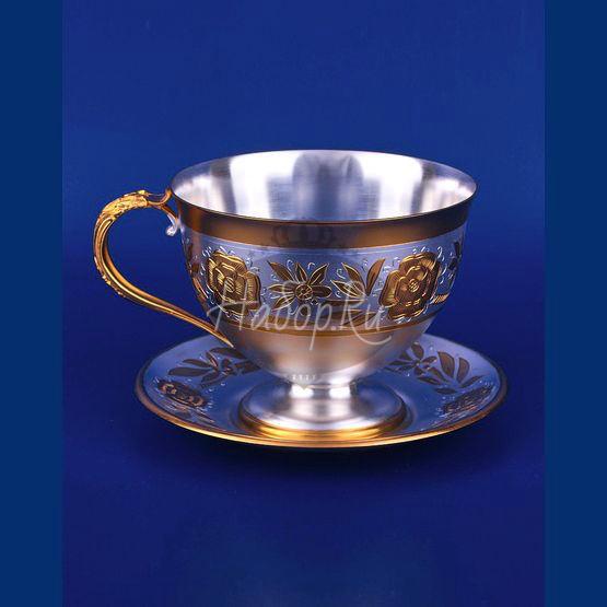 Серебряная чашка с блюдцем №3 (арт. С33687700325)