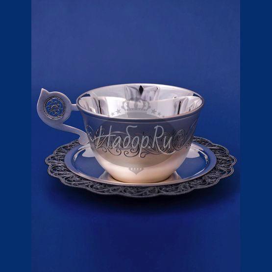 """Серебряная чашка с блюдцем """"Солнышко"""" (арт. С 33687600325)"""