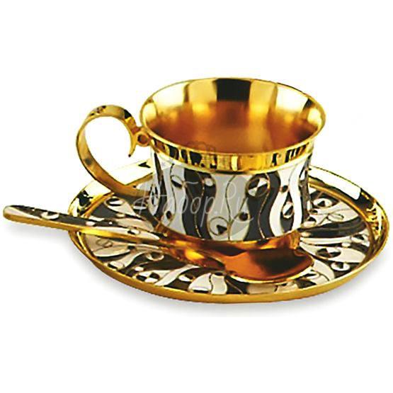 """Чашка с блюдцем. Сервиз """"Водоросли"""" (арт. 33067)"""