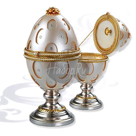 Шкатулка муз. яйцо на серебряной подставке (арт. 0111943/A)